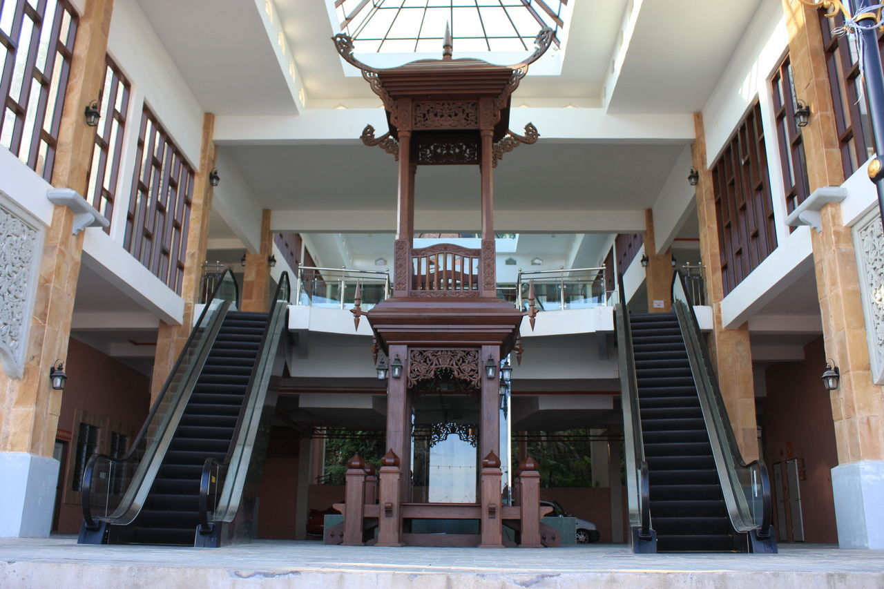 architecture, built structure, steps, architectural column, indoors, staircase, steps and staircases, corridor, building exterior, no people, day