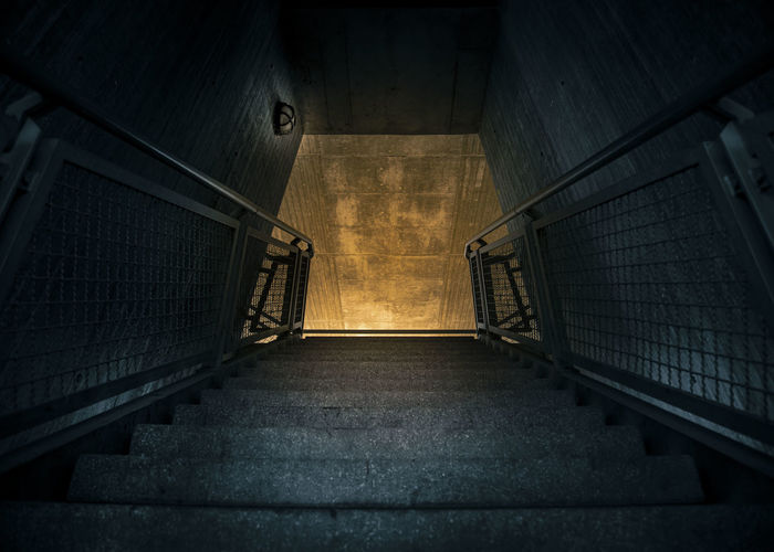 High angle view of empty staircase in subway