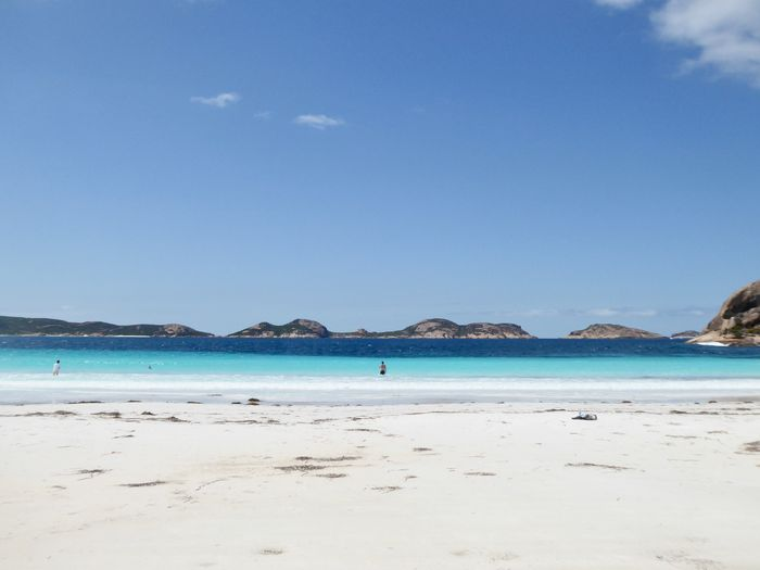 Australia Tourist Attraction  Beach Beauty In Nature Clear Sky Dream Beach Fine White Beach Sand Lone Swimmers Nature Near Esperance Australia Sand Scenics Sea Seascape Tourist Destination Tranquil Scene Tranquility Turquoise Coloured Water Young People Having Fun