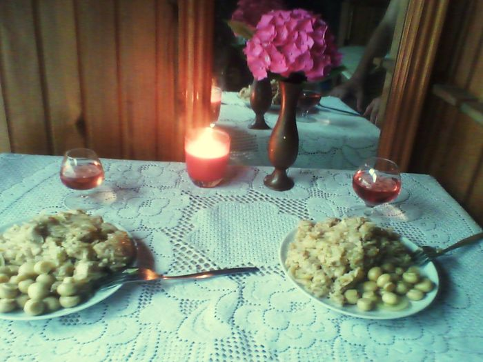 Modest Celebration Birthday 2014 19 Wood House Food Pilaf Champignons Vine Candle Flowers