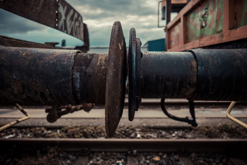 STOP Buffer Buffer Stop Close-up Cloud Cloud - Sky Day Focus On Foreground Industry Locomotive Machine Part Machinery Metal Metallic No People Obsolete Old Outdoors Part Of Run-down Rusty Rusty Metal Selective Focus Sky Train