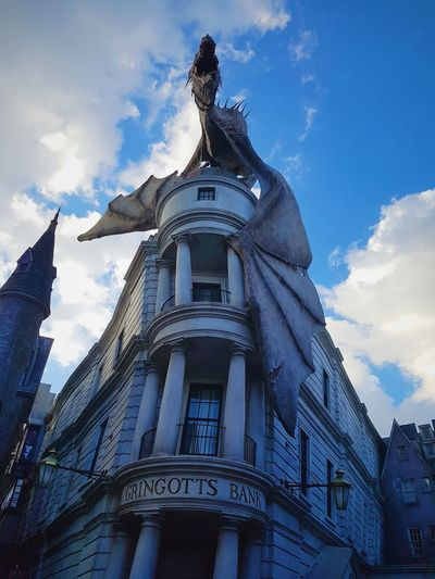 Travel Architecture No People City Outdoors Sky Sculpture Day Architecture Low Angle View Harry Potter Universal Studios  Orlando Florida Dragon Gringottsbank Gringotts Dragon