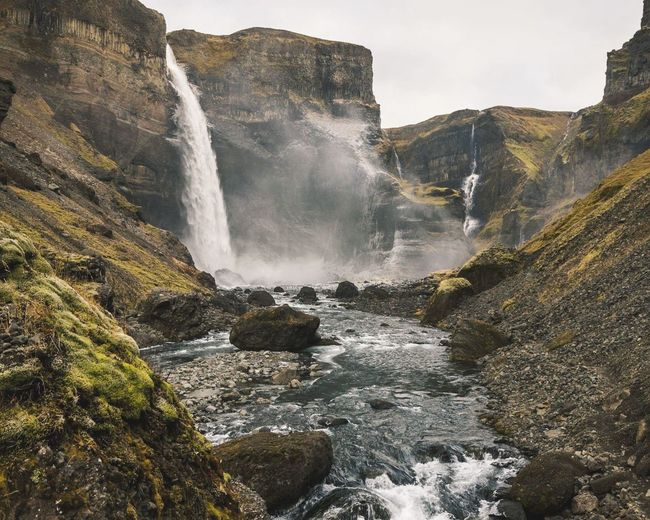 Remote waterfall in Iceland, Haifoss Power In Nature Motion Spraying Mountain Long Exposure Flowing Water Flowing Rapid Moss Falling Water Stream Rock - Object Rugged Cliff Rock Formation Natural Landmark Stream - Flowing Water