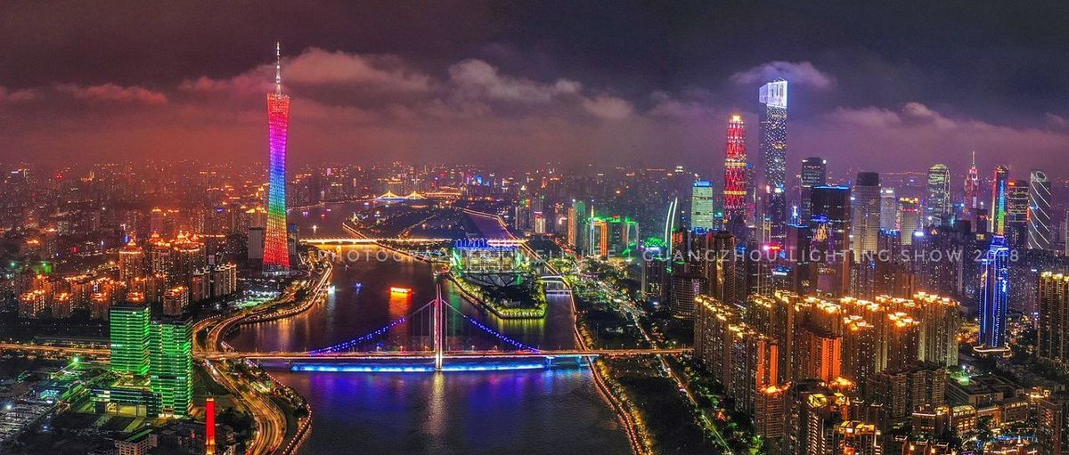 Guangzhou night view Aerial Photography Architecture City Building Exterior Built Structure Night Illuminated Cityscape Travel Destinations City Life Tall - High