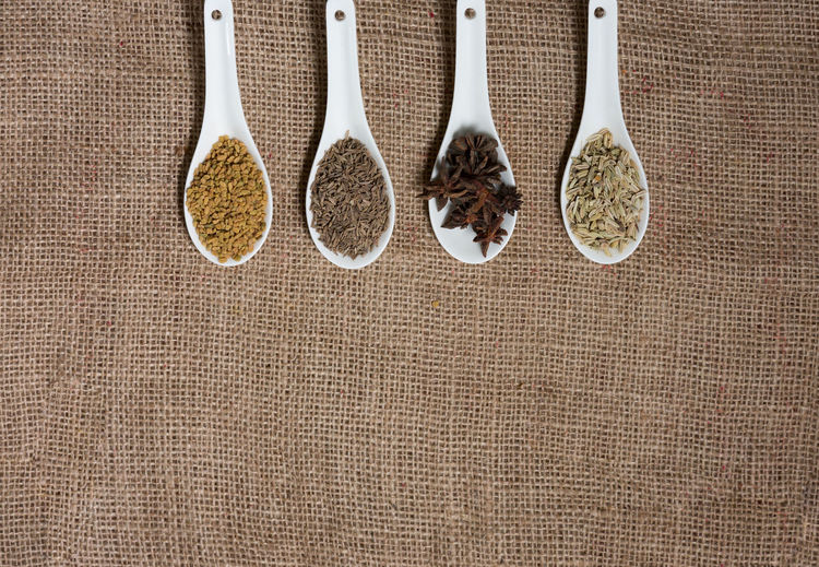 High angle view of spices in container