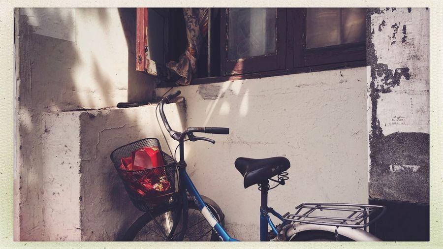 Streetphotography Auto Post Production Filter Transfer Print Bicycle No People Transportation Mode Of Transportation Land Vehicle Outdoors Nature City Sunlight Wall Wall - Building Feature Street Built Structure Day Shadow Architecture Stationary Close-up