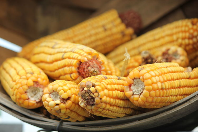High Angle View Of Sweetcorns In Basket
