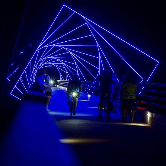 High Trestle Trail Bridge at night. Bridge Night Photography People Night Lights