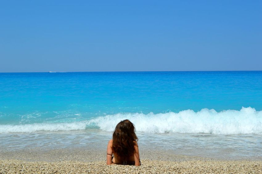 Milos beach in Lefkada Beach Beauty In Nature Blue Calm Coastline Showcase July Horizon Over Water Idyllic Leisure Activity Lifestyles Nature Ocean Outdoors Relaxation Remote Scenics Sea Seascape Shore Sky Tranquil Scene Tranquility Vacations Water Wave
