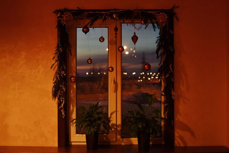 Christmas decoration on window at home