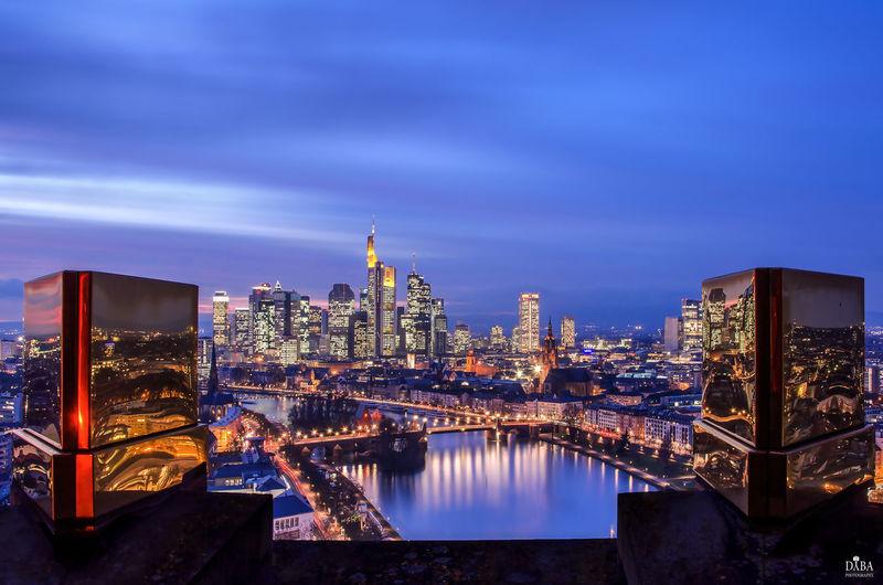 Frankfurt Am Main Skyline Skyline Frankfurt Bridge Building City Cityscape Night Outdoors River Sky Skyscraper Water