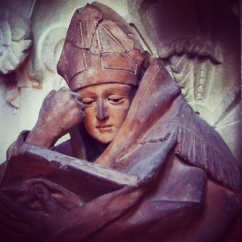 Statue Bishop Human Representation No People Indoors  Sculpture Book