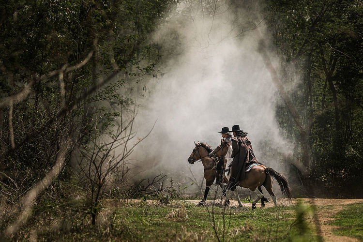 Panoramic view of people riding horse