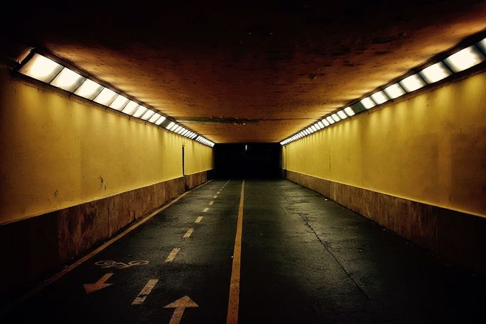 Underground Illuminated Yellow Bicycle Road Architecture Budapest Tunel Paint The Town Yellow Paint The Town Yellow