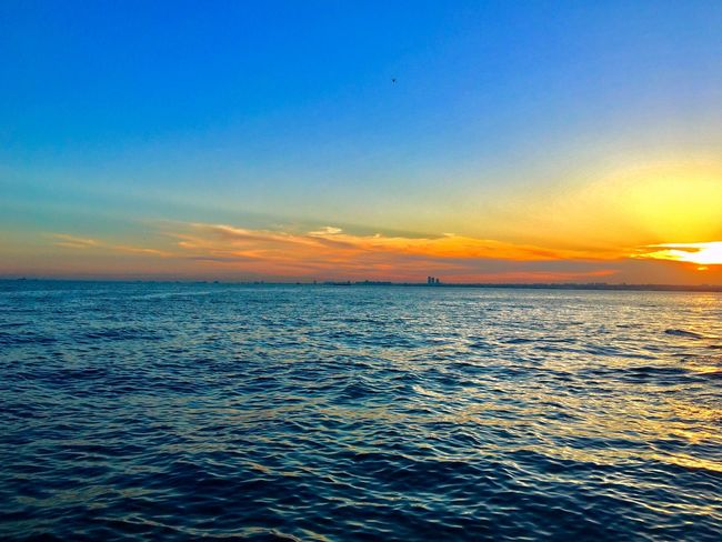 Water Sky Sea Scenics - Nature Beauty In Nature Sunset Tranquil Scene Horizon Over Water Tranquility No People Nature Blue Outdoors Horizon Waterfront Idyllic Rippled Orange Color Dusk