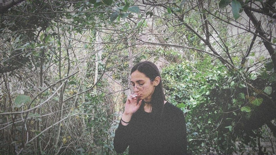 Cigarettes Kill But I Don't Care Just Live Your Life  Natural Portrait Natural Portrait Of Girl In Tree Cigarette Smoke