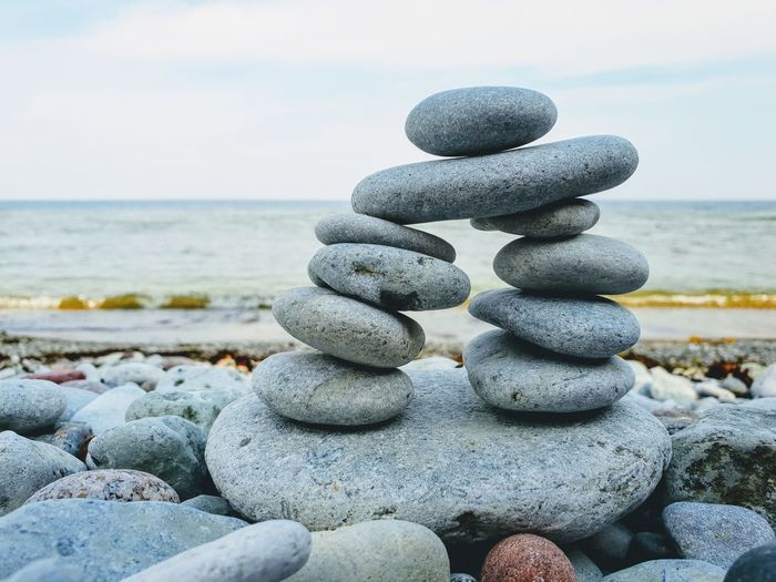 Sweden Gotland Summer Nature Nature Photography Water Sea Beach Wave Stack Pebble Reliability Strength Balance Rock - Object Stack Rock Pyramid Shape