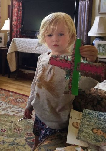 Violet w/ her collaged cross (though she doesn't get the symbol) 13048553
