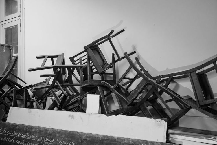 Abandoned Blackandwhite Chair Dark Grunge No People School Shadows