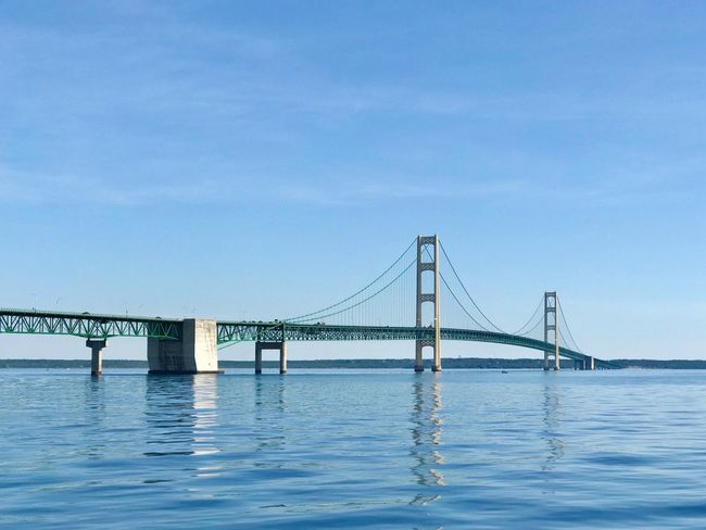 Mighty Mac bridge joins Michigan's Upper and Lower Peninsula's IPhoneography EyeEmNewHere Water Bridge Connection Sky Bridge - Man Made Structure Built Structure Transportation Architecture Blue Waterfront Travel Destinations Clear Sky