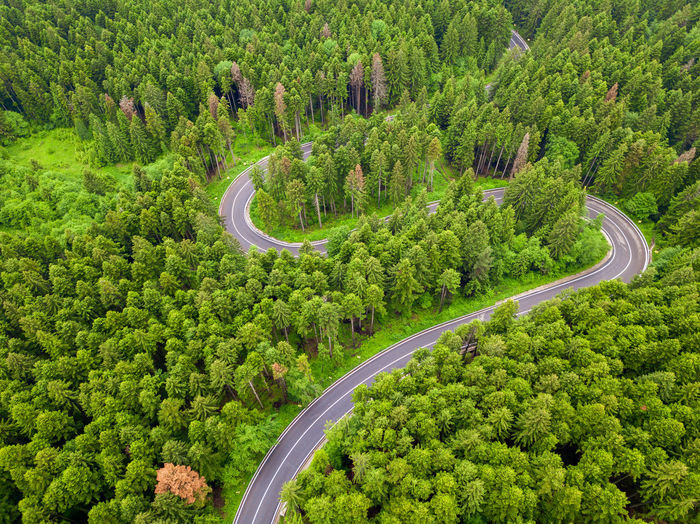 Aerial view of countryside road passing through the forest and mountain