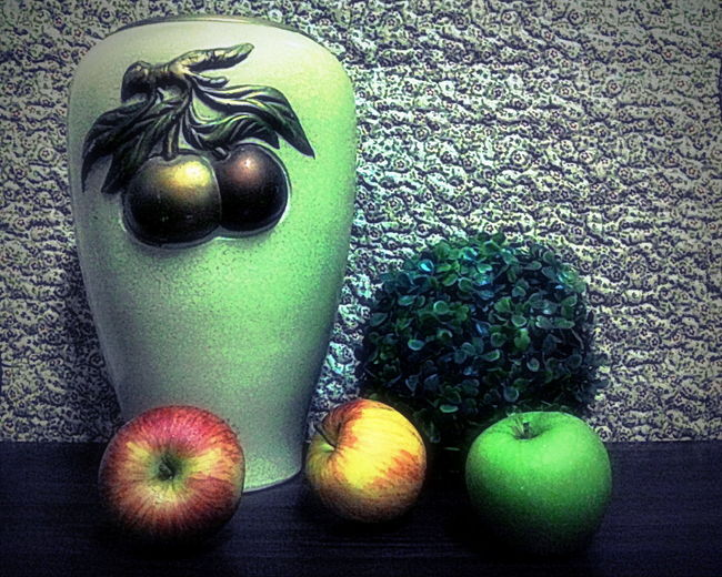 Vase Vase Art Apple Apple - Fruit Choice Close-up Food Food And Drink Freshness Fruit Green Color Group Of Objects Healthy Eating High Angle View Indoors  Juicy Juicy Fruit Malus No People Organic Still Life Table Variation Vegetable Wellbeing EyeEmNewHere