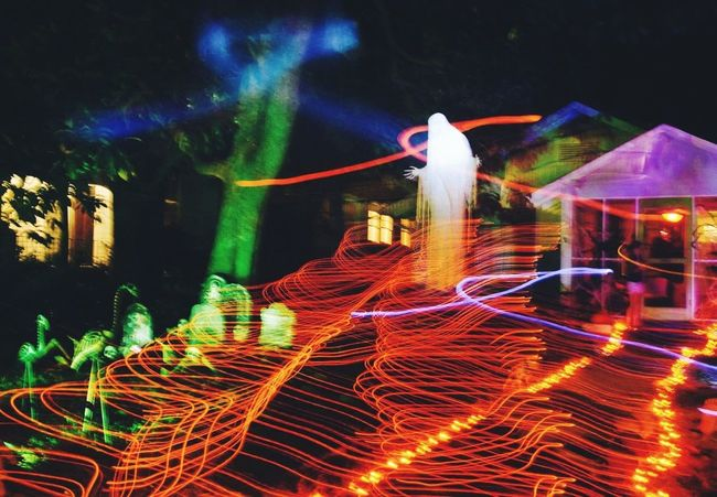 Light Trail Halloween Ghost Multi Colored Outdoors Long Exposure Illuminated Night