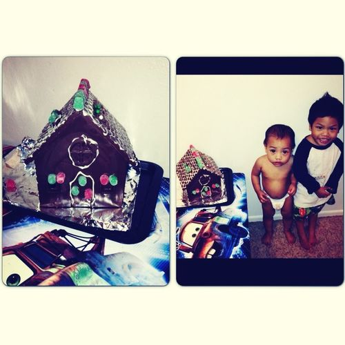 kids made their chocolate house.. with mommy and daddy's help..❤