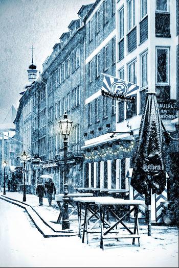 Düsseldorf, Germany, Ratinger Straße Altstadt Blau Cold Temperature Deutschland Düsseldorf Fortuna Füchschen Germany It's Cold Outside Lanterns Laternen NRW Old Outdoors Ratinger Straße Schnee Snow Winter Winter