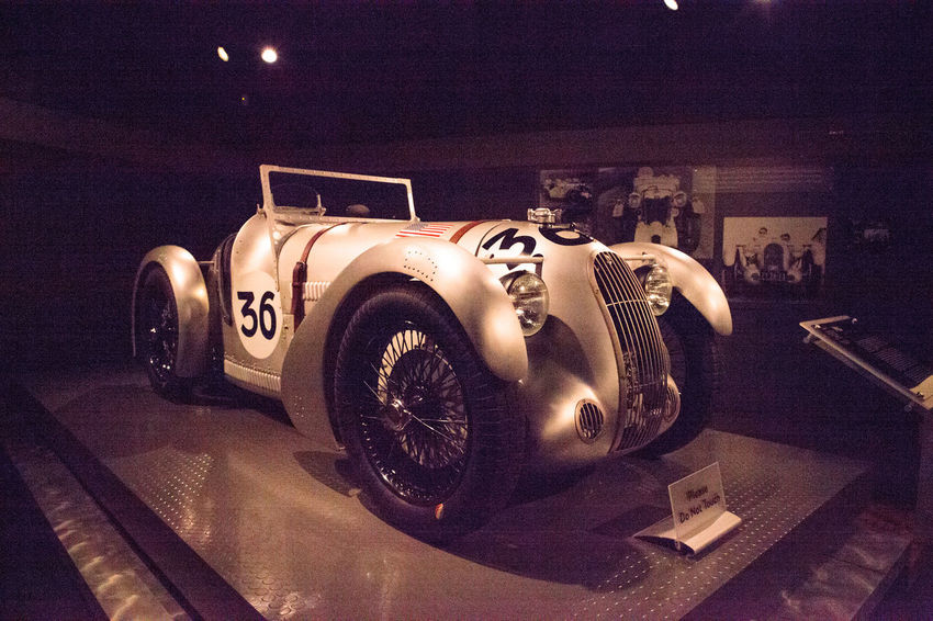 Naples, Florida, USA – May 5, 2018: Silver 1935 MG PA/PB Leonidis displayed at The Revs Institute in Naples, Florida. Editorial use only. 1935 Leonidis MG  PA/PB Revs Institute Sports Cars The Revs Institute Vintage MG Classic MG Convertable Illuminated Indoors  Night No People Old Car Race Car Silver Car Sports Car Technology