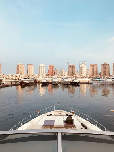 Arabian Moment Water Architecture Sky Built Structure Building Exterior Transportation Nautical Vessel Building No People Copy Space Sea Day Reflection Outdoors Clear Sky Mode Of Transportation City Travel Yacht Nature