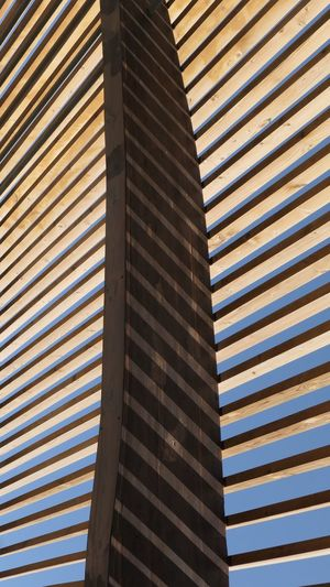 Wood - Material Pattern Architecture No People Built Structure Day Striped Full Frame Low Angle View Backgrounds Modern Outdoors Close-up
