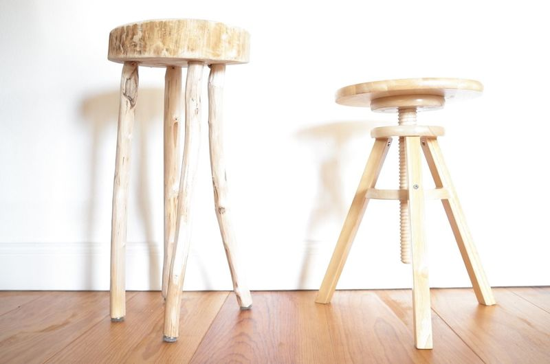 Close-up of wooden stools on hardwood floor