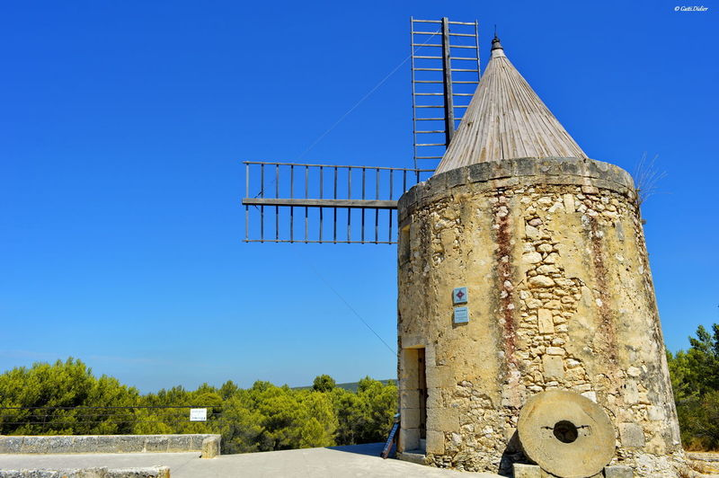 Le moulin d'Alfonse Daudet Agriculture Architecture Blue Clear Sky Fontvieille Rural Scene Traditional Windmill Windmill