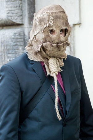 Cosplayer Fun Hanged Luccacomics Man Mask People Spooky Carnival Crowds And Details