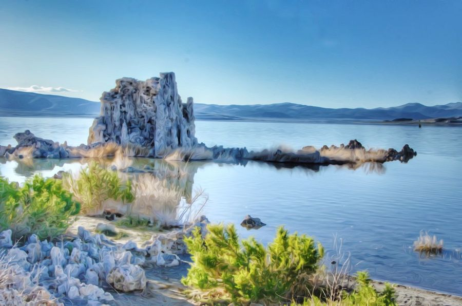 Tufas Mono Lake, CA Water Sky Sea Beauty In Nature Scenics - Nature Tranquil Scene Tranquility Nature Rock Rock - Object Solid Blue No People Reflection Day Non-urban Scene Idyllic Environment Outdoors Lagoon