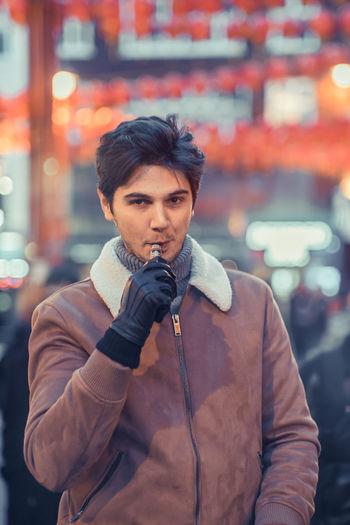 Portrait Of Man Smoking Pipe