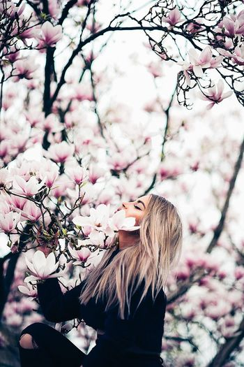 Low angle view of woman and pink cherry blossom tree