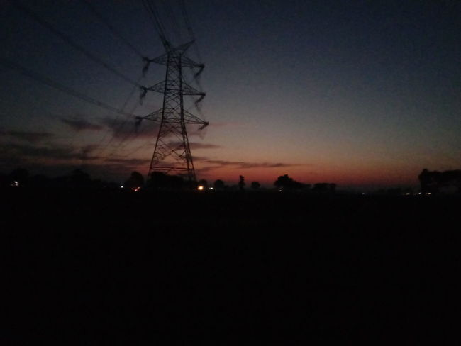 Late Evening, Mobile Photography, No Editing, Sky Silhouette Electricity Pylon No People Electricity  Night Tranquility Landscape Sunset Nature Outdoors