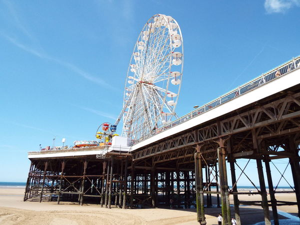 Blackpool Central Pier Central Pier Blackpool Beach Blue Sky Big Wheel Ferris Wheel Sand Sea The Essence Of Summer Summertime Summer 2016 Tourist Attraction  Tourism Looking Up