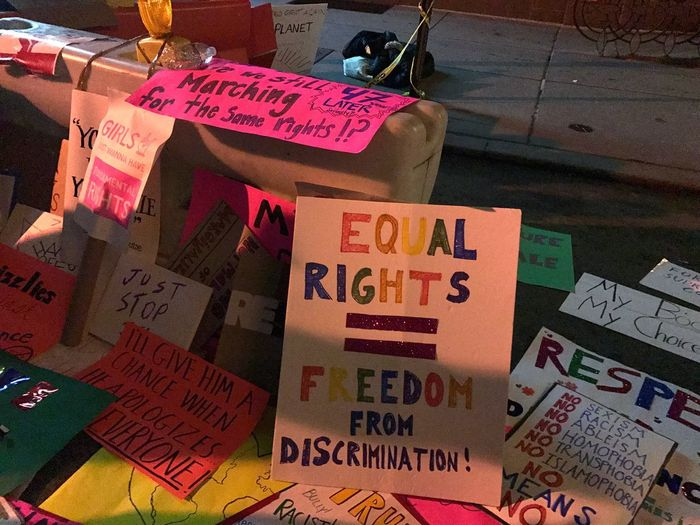 Equal Rights =Freedom Press For Progress Aftermath New York City Handmade Sign Protest Signs Womens March 2017 Womens March Indoors  Hanging Day