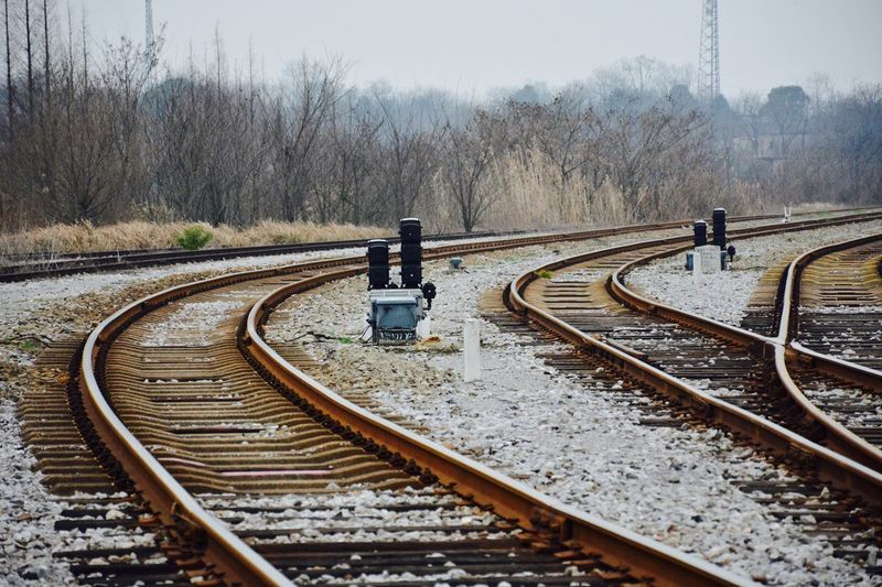 Railway Tracks in Jiujiang, Jiangxi, China Railroad Track Rail Transportation Transportation Railroad Tie Day Public Transportation Railway Track The Way Forward Tree Railway Signal Outdoors No People Nature Cold Temperature Beauty In Nature Sky