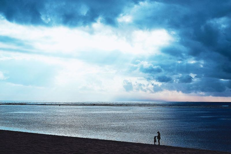 Sea Sky Beach Cloud - Sky Water Beauty In Nature Scenics Tranquil Scene Horizon Over Water Nature Tranquility Day Outdoors Two People Real People Standing Full Length Men People EyeEmNewHere