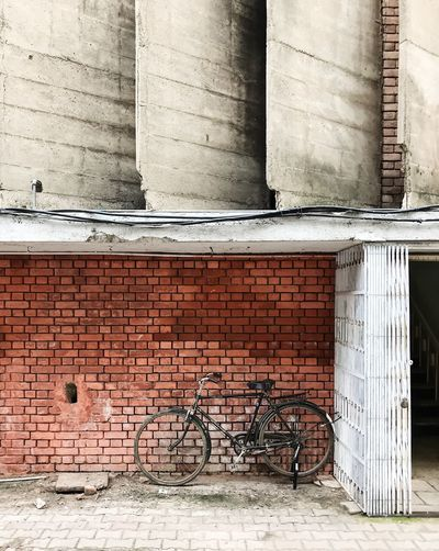 Chandigarh Composition India Weathered Architecture Bicycle Brick Brick Wall Brutalism Building Building Exterior Built Structure City Concrete Day Land Vehicle Mode Of Transportation No People Outdoors Transportation Wall Wall - Building Feature