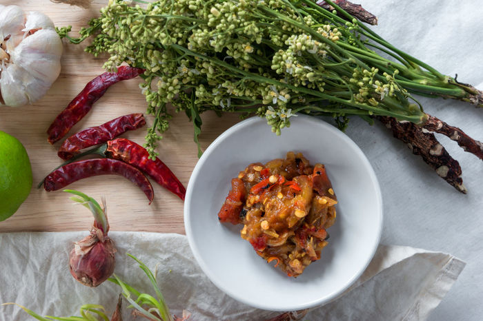 Chili Paste Close-up Flower Food Food And Drink Freshness Garlic Healthy Eating Herbal Indoors  Neem No People Plate Ready-to-eat Shallot Shoot Spicy Spicy Food Spicy Thai Food Thai Food