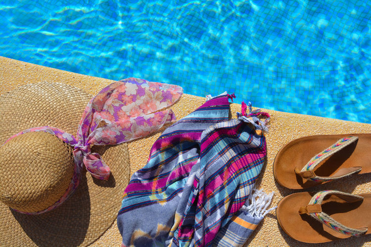 High angle view of hat on swimming pool