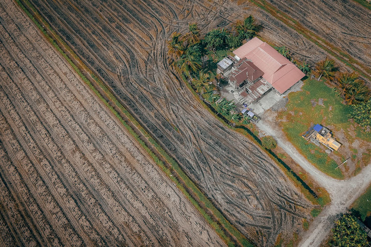 High Angle View Transportation Building Exterior Day Built Structure No People Outdoors Architecture Environment Nature Aerial View Landscape Road Plant Building Field Land Tree Land Vehicle House