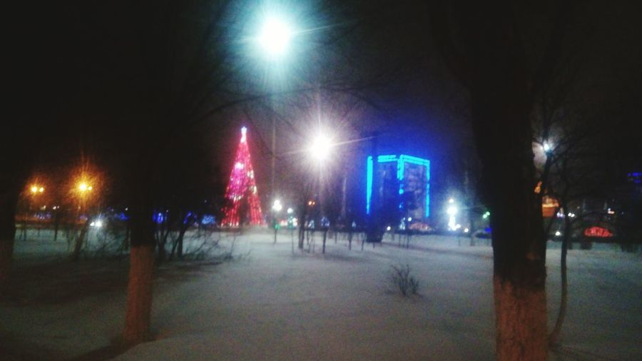 Night Illuminated Outdoors City Sky No People