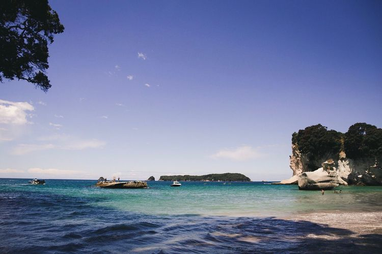 Cathedral Cove New Zealand Island Carribean Tropical Water Sea Nature Beauty In Nature Scenics Sky Tranquil Scene Tranquility Outdoors Blue No People Day Sunlight Beach Horizon Over Water Tree