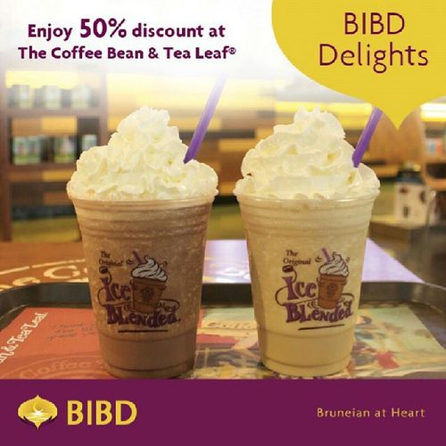 Pay with eTunai or your BIBD Cards from 25th October to 27th October 2013 and enjoy 50% discount on Mocha and Vanilla Ice Blended drinks at all participating The Coffee Bean and Tea Leaf *outlets. *except BSP HQ & Airport outlet. Bibd Bibddelights Cbtlbrunei Brunei bibdcards bibdetunai